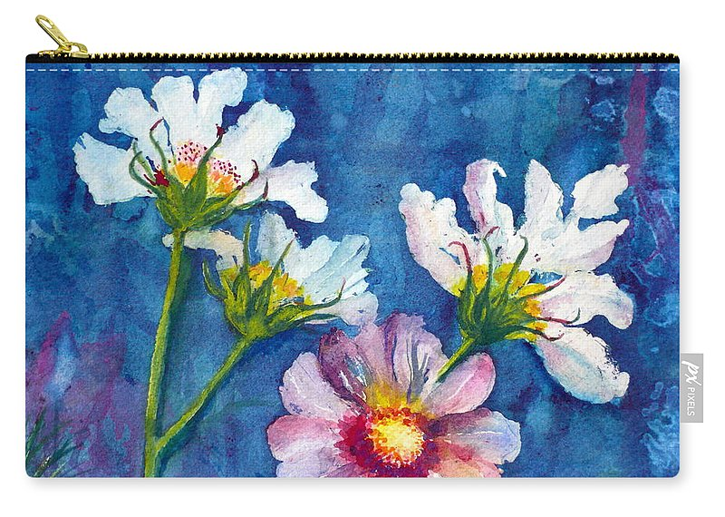 Cosmos Carry-all Pouch featuring the painting Cosmos Detail I by Anna Ruzsan