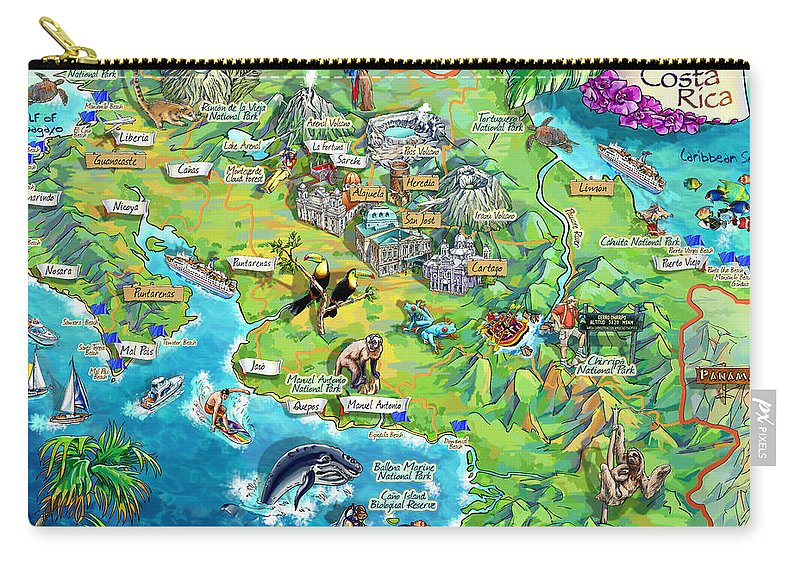 Costa Rica Carry-all Pouch featuring the painting Costa Rica Map Illustration by Maria Rabinky
