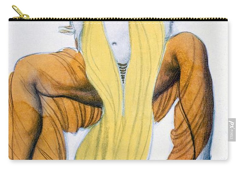 Ballets Russes Diaghilev Carry-all Pouch featuring the drawing Costume Design For A Bacchic Dancer by Leon Bakst