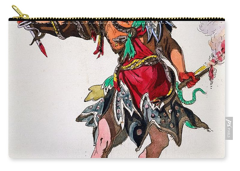 Costume Carry-all Pouch featuring the drawing Costume Design For A Fury by French School