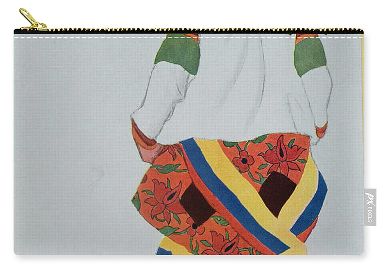 Traditional Costume Carry-all Pouch featuring the drawing Costume Design For A Peasant Girl, 1922 by Leon Bakst