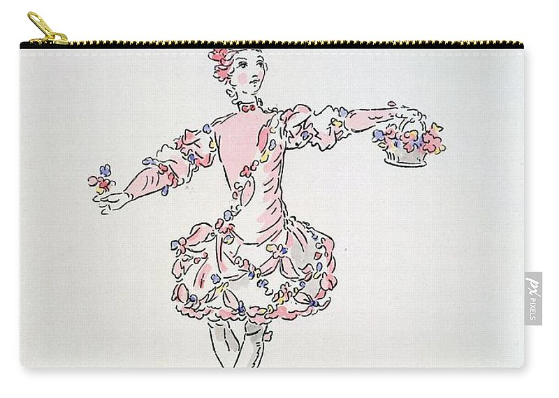 Costume Carry-all Pouch featuring the drawing Costume Design For A Young Egyptian Dressed As Spring by French School
