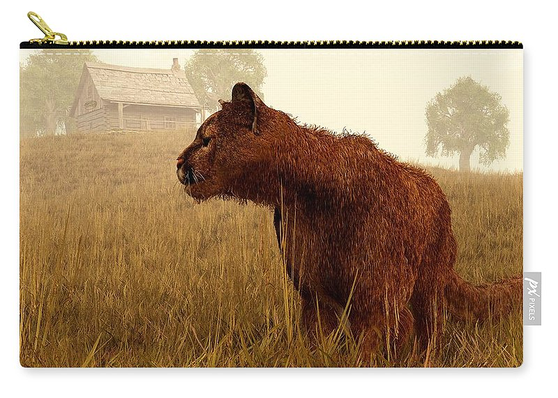 Cougar Carry-all Pouch featuring the digital art Cougar In A Field by Daniel Eskridge