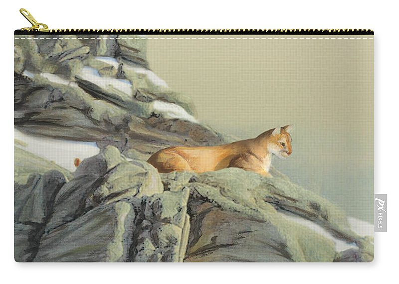 Cougar Carry-all Pouch featuring the painting Cougar Perch by Jane Girardot