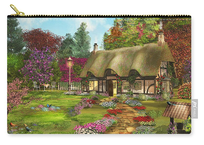 Art Licensing Carry-all Pouch featuring the mixed media Country Path by Caplyn Dor