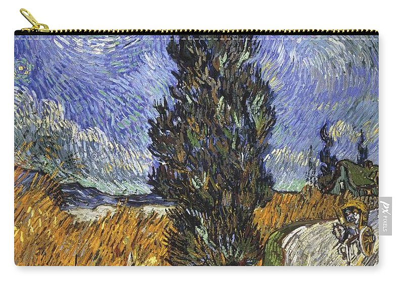 1890 Carry-all Pouch featuring the painting Country Road In Provence By Night by Vincent van Gogh