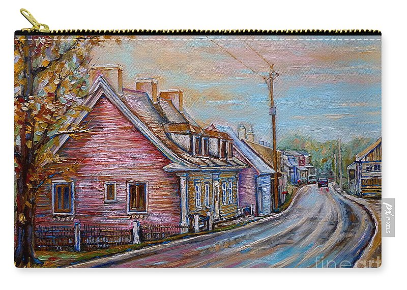 Ile D'orleans Carry-all Pouch featuring the painting Country Road Pink House by Carole Spandau