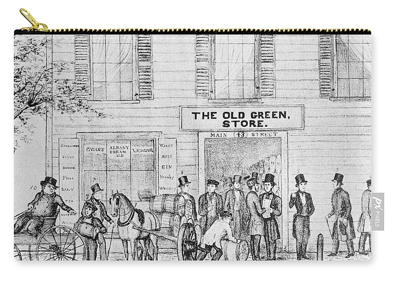 1847 Carry-all Pouch featuring the painting Country Store, 1847 by Granger
