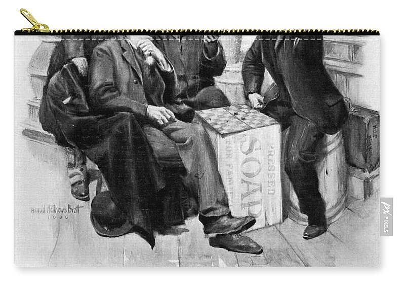 1906 Carry-all Pouch featuring the drawing Country Store, 1906 by Granger