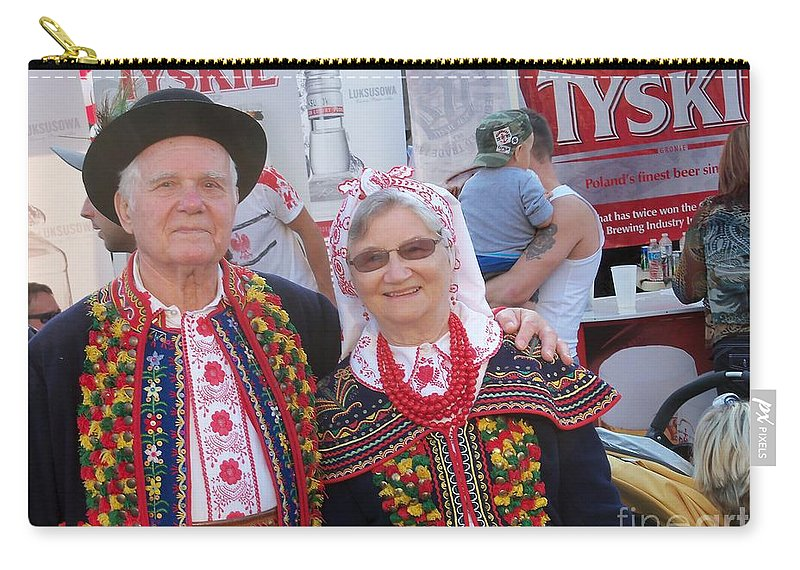 Street Festival Carry-all Pouch featuring the photograph Couples In Polish National Costumes by Lingfai Leung