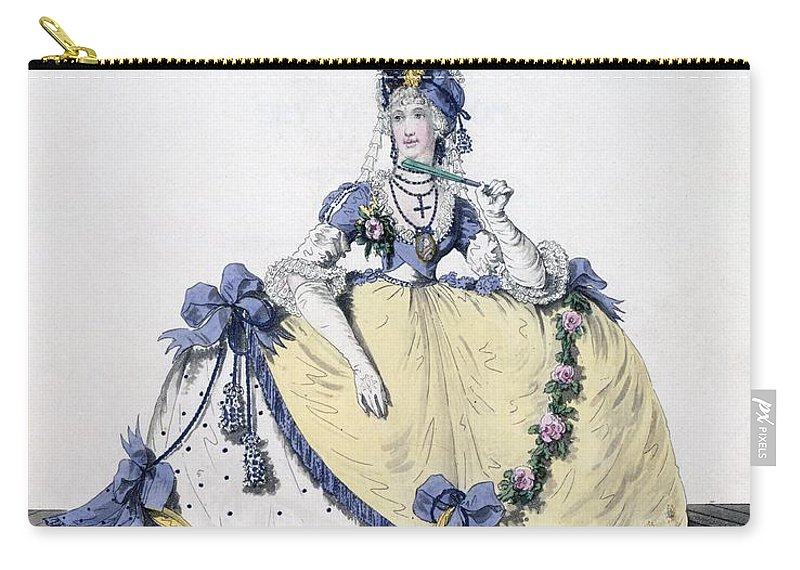 Clothing Carry-all Pouch featuring the drawing Court Dress, Fig. 106 From The Gallery by Nicolaus von Heideloff