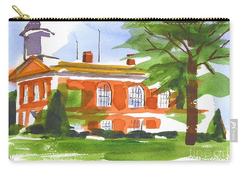 Courthouse On A Summers Evening Carry-all Pouch featuring the painting Courthouse On A Summers Evening by Kip DeVore