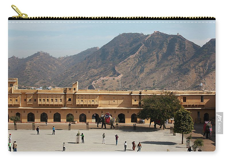 Shadow Carry-all Pouch featuring the photograph Courtyard Of Amer Fort, Rajasthan by Bjarte Rettedal