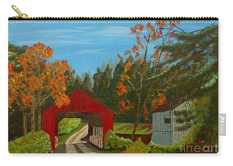 Path Carry-all Pouch featuring the painting Covered Bridge by Anthony Dunphy