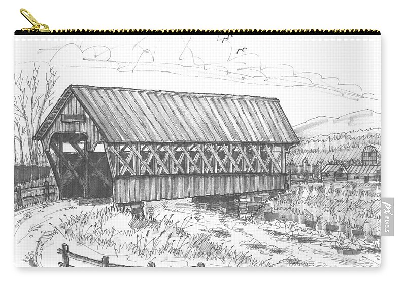 Covered Bridge Carry-all Pouch featuring the drawing Covered Bridge Coventry Vermont by Richard Wambach