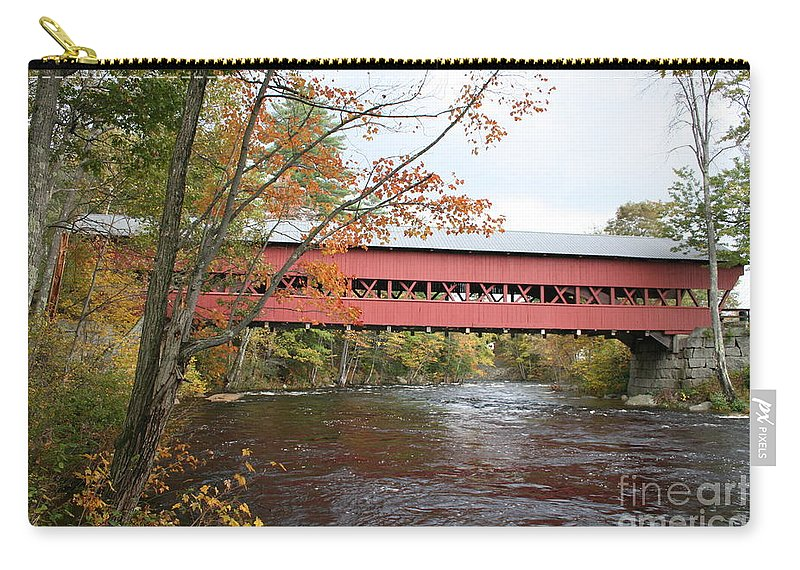 Covered Bridge Carry-all Pouch featuring the photograph Covered Bridge Over Swift River by Christiane Schulze Art And Photography