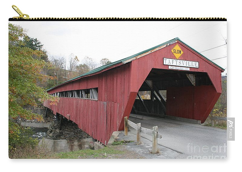 Covered Bridge Carry-all Pouch featuring the photograph Covered Bridge Taftsville by Christiane Schulze Art And Photography