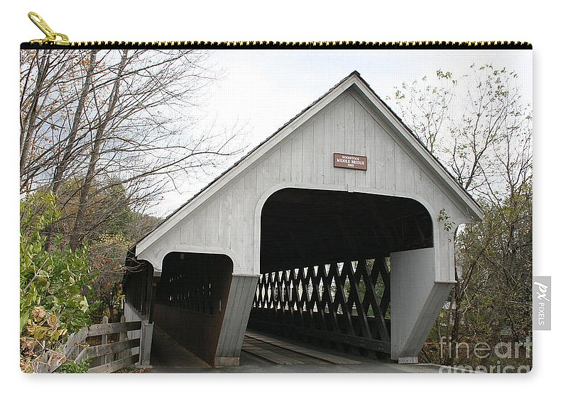 Covered Bridge Carry-all Pouch featuring the photograph Covered Bridge - Woodstock by Christiane Schulze Art And Photography