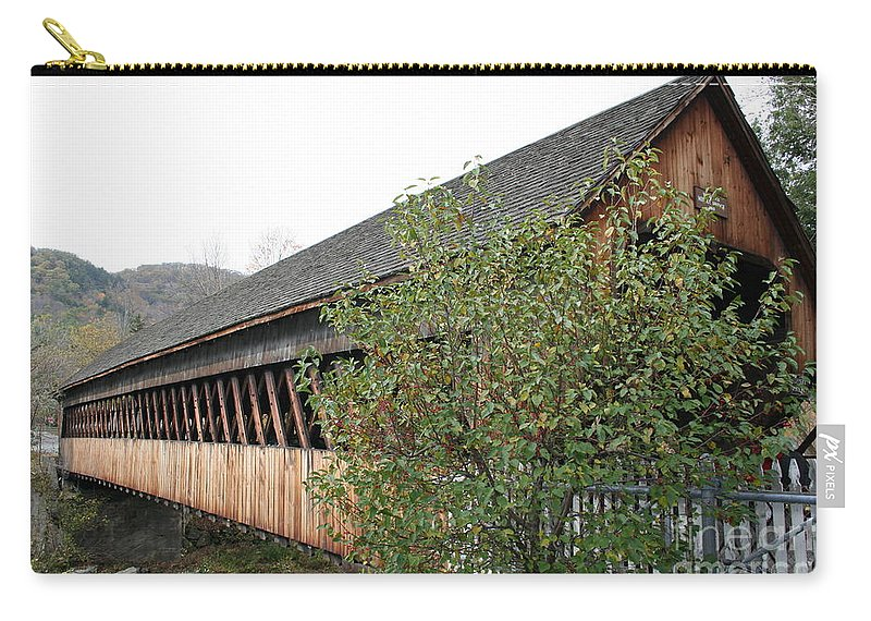 Covered Bridge Carry-all Pouch featuring the photograph Covered Bridge - Woodstock - Vermont by Christiane Schulze Art And Photography