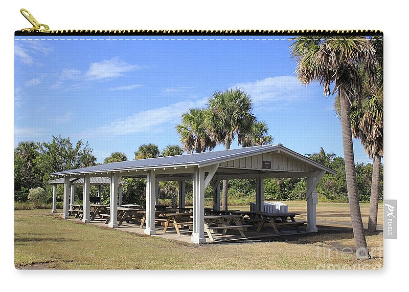 Covered Carry-all Pouch featuring the photograph Covered Picnic Tables by Lee Serenethos
