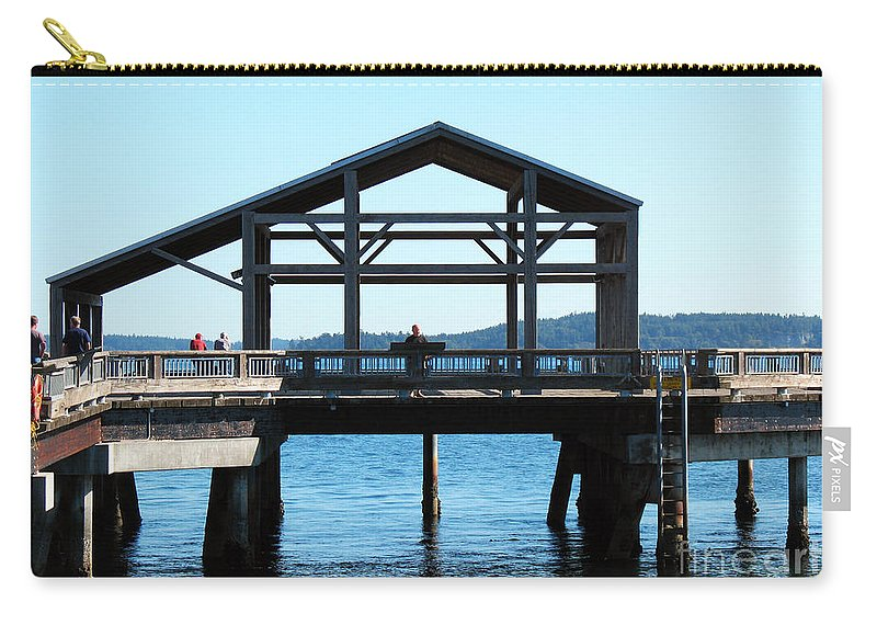 Pier Carry-all Pouch featuring the photograph Covered Pier At Port Townsend by Connie Fox