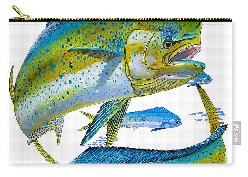 Dolphin Carry-all Pouch featuring the painting Cow And Bull by Carey Chen