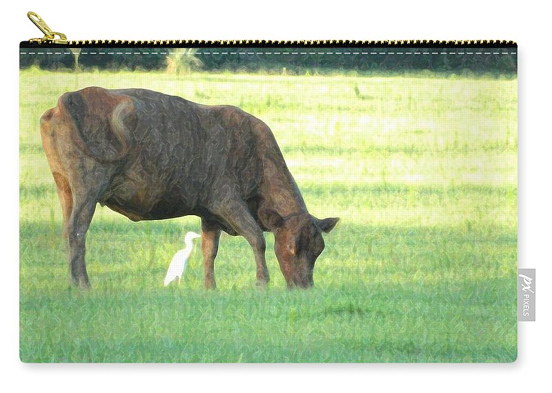 Cow Carry-all Pouch featuring the photograph Cow And Friend Abstract by George Pedro