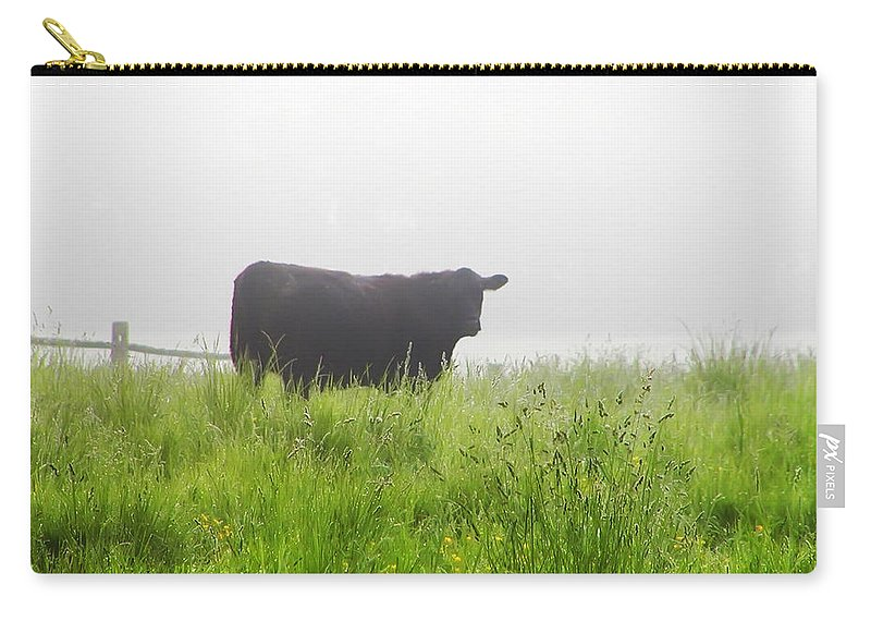 Fog Carry-all Pouch featuring the photograph Cow In Fog by Bill Cannon
