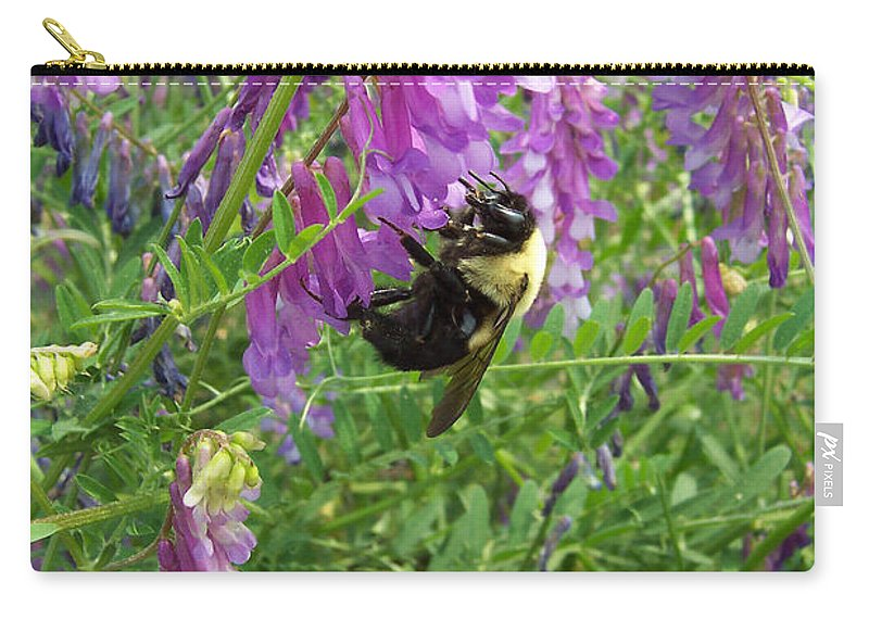 Vicia Cracca Carry-all Pouch featuring the photograph Cow Vetch Wildflowers And Bumble Bee by Kathy Clark