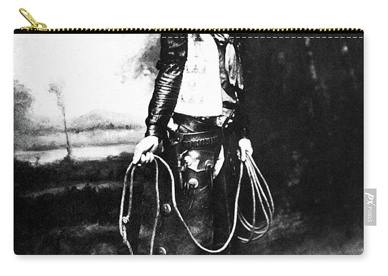 1880 Carry-all Pouch featuring the photograph Cowboy, C1880 by Granger