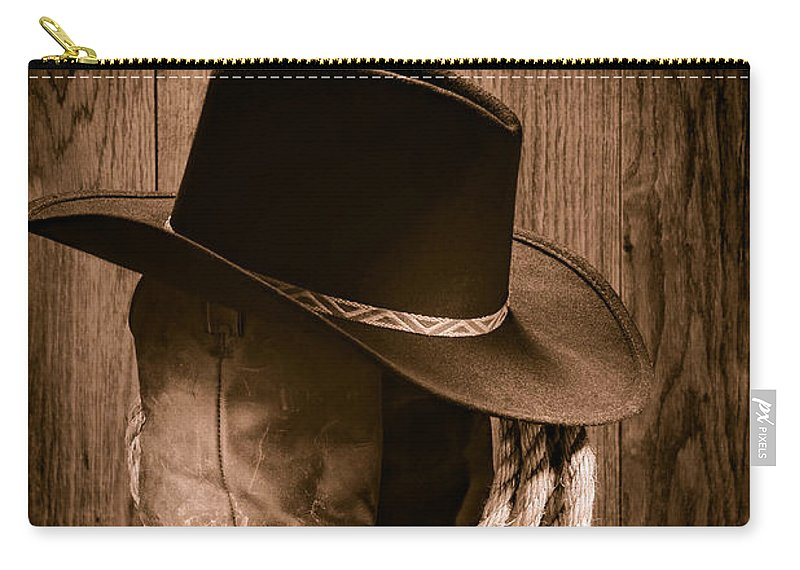Boots Carry-all Pouch featuring the photograph Cowboy Hat And Boots by Olivier  Le Queinec 316296e2c00d