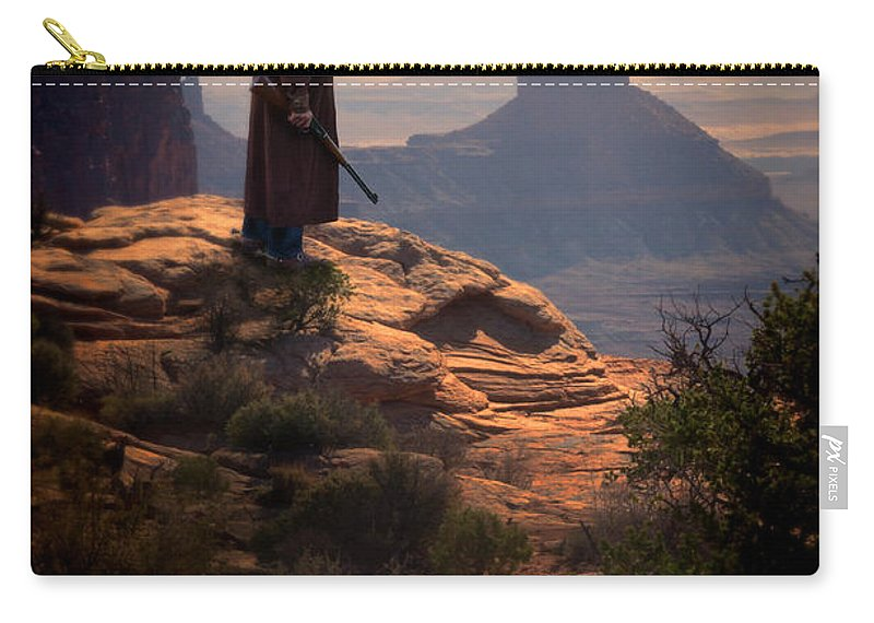 Cowboy Carry-all Pouch featuring the photograph Cowboy On A Cliff by Jill Battaglia