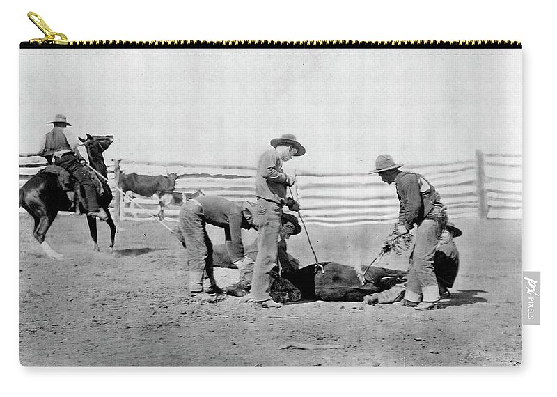 1888 Carry-all Pouch featuring the photograph Cowboys, 1888 by Granger