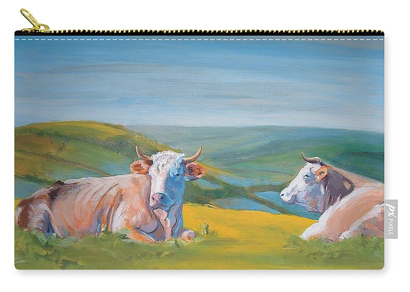 Cows Carry-all Pouch featuring the painting Cows Lying Down Painting by Mike Jory