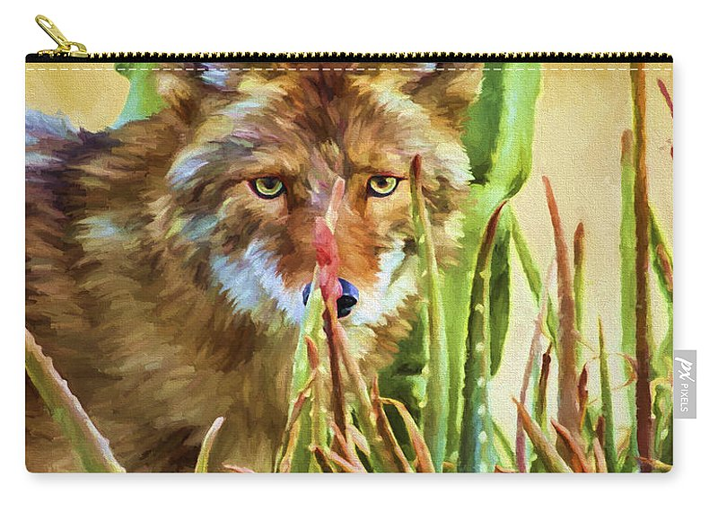 Coyote Carry-all Pouch featuring the painting Coyote In The Aloe by David Wagner