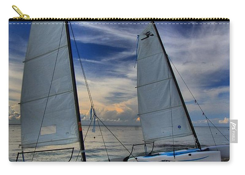 Caribbean Ocean Carry-all Pouch featuring the photograph Cozumel Hobie Cats by Adam Jewell