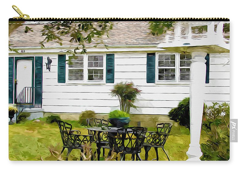 Gardening Carry-all Pouch featuring the painting Cozy Little Back Yard Terrace With Table And Chair by Jeelan Clark