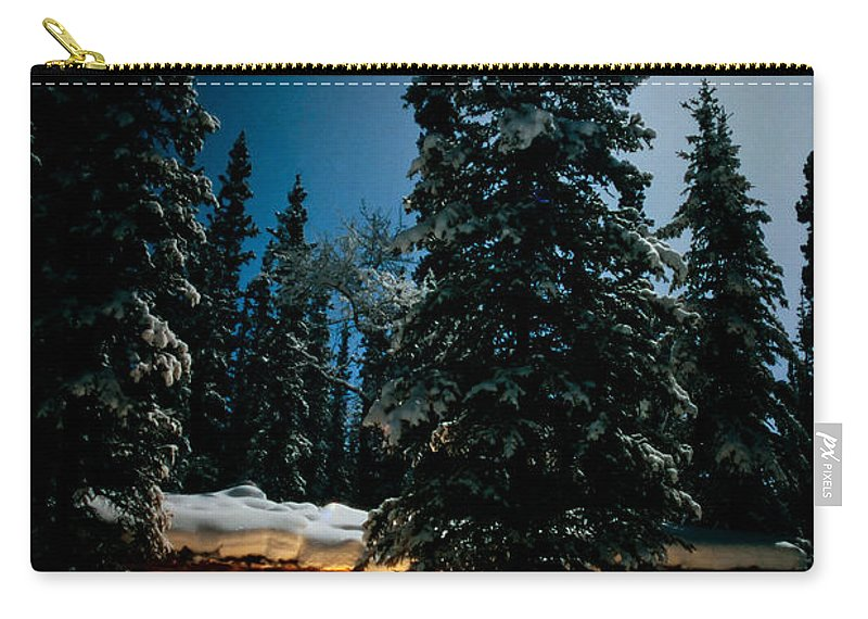 Backlit Carry-all Pouch featuring the photograph Cozy Log Cabin At Moon-lit Winter Night by Stephan Pietzko