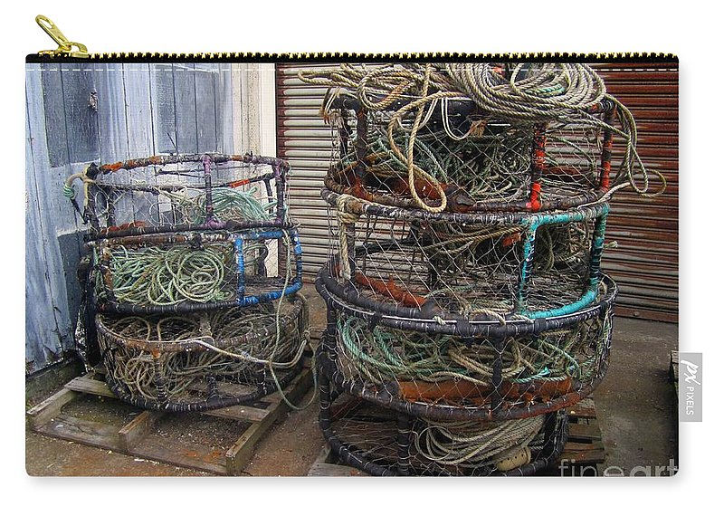 Crab Pots Carry-all Pouch featuring the photograph Crab Pots by Fiona Kennard