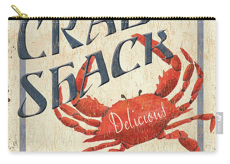 Crab Carry-all Pouch featuring the painting Crab Shack by Debbie DeWitt