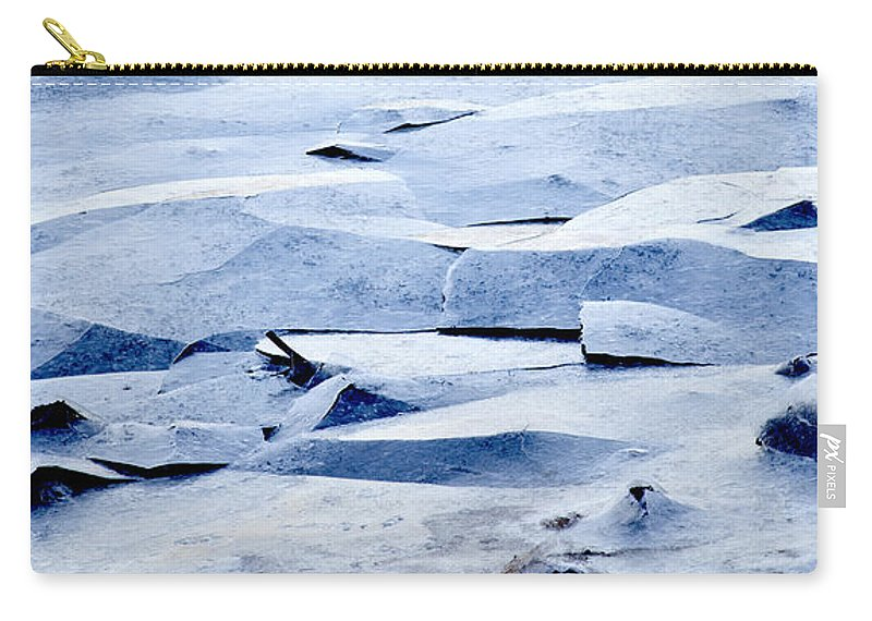 Ice Carry-all Pouch featuring the photograph Cracked Icescape by Liz Leyden