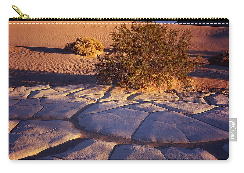 Nature Photography Carry-all Pouch featuring the photograph Cracked Mud - Sand Ripples 3 by Tom Daniel