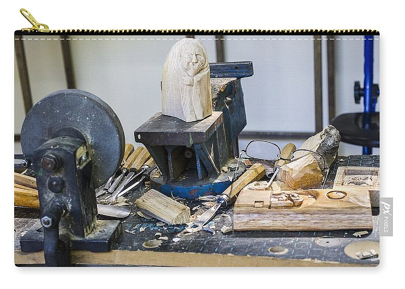 Craftsman Carry-all Pouch featuring the photograph Craftsman Work Table by Paulo Goncalves