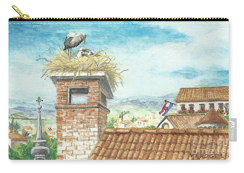 Crane Carry-all Pouch featuring the painting Cranes In Croatia by Christina Verdgeline