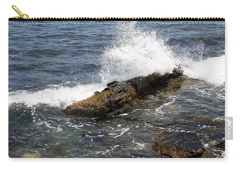 Crashing Waves Carry-all Pouch featuring the photograph Crashing Waves - Rhode Island by Christiane Schulze Art And Photography