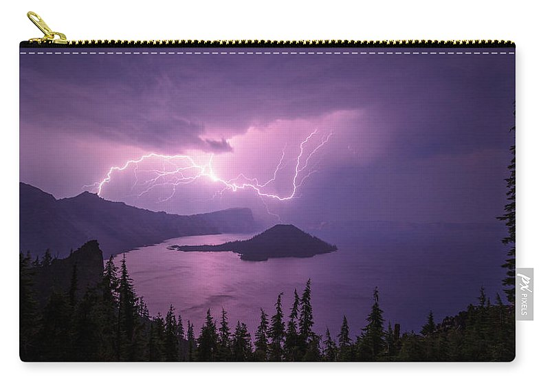 Crater Storm Carry-all Pouch featuring the photograph Crater Storm by Chad Dutson