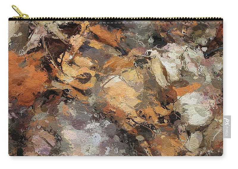 Crawfish Crab Sea Seafood Crayfish Abstract Restaurant Abstract Expressionism Carry-all Pouch featuring the painting Crawfish by Steve K