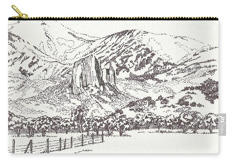 Needle Rock Carry-all Pouch featuring the drawing Crawford Needle Rock by Dale Jackson