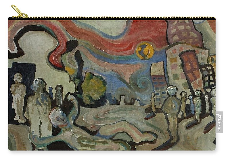 Cityscape Carry-all Pouch featuring the painting Crazy Moon by John A B Lansdown