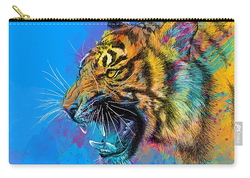 Tiger Carry-all Pouch featuring the digital art Crazy Tiger by Olga Shvartsur